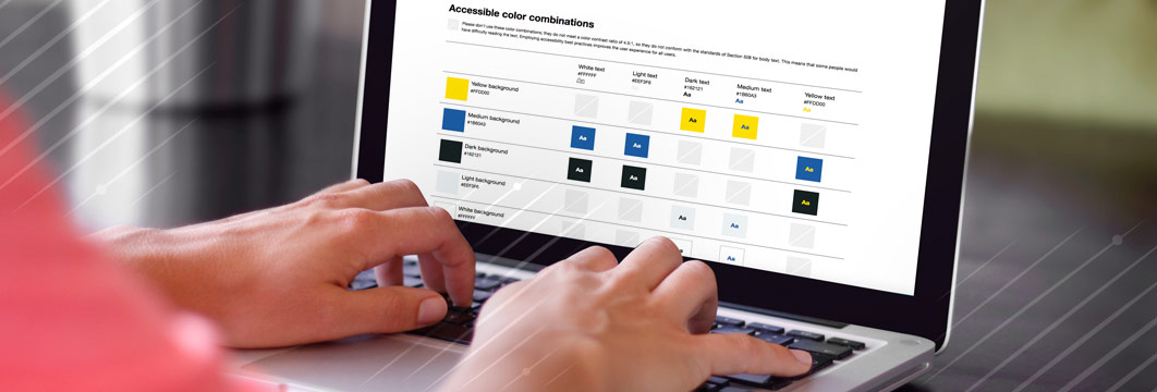 Woman using a color contrast checker to confirm her website's 508 compliance