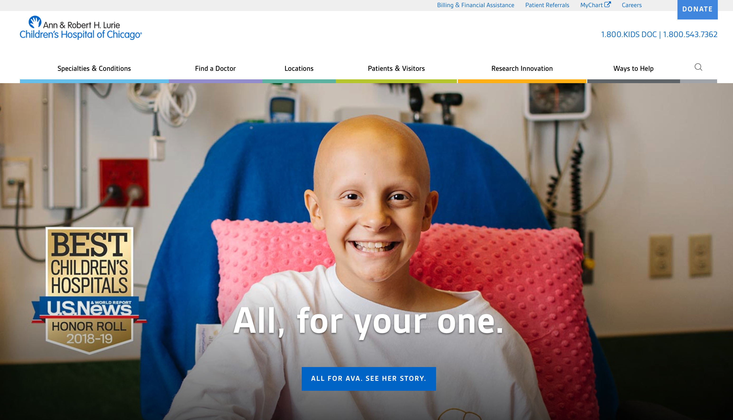 Best Healthcare Website Designs - Lurie Children's Hospital of Chicago