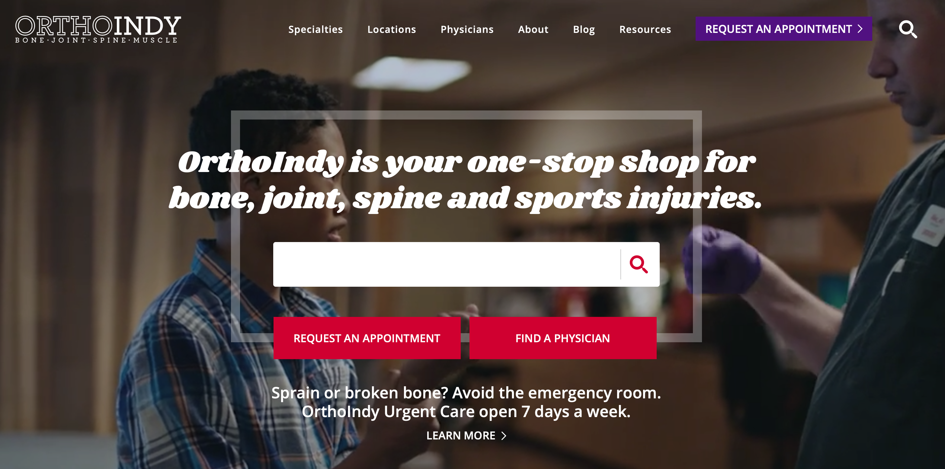 Best Healthcare Website Designs - OrthoIndy Hospital